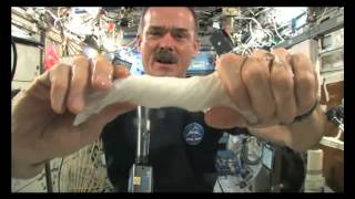 Does water squezee out of a cloth at Zero Gravity? (Chris Hadfield)