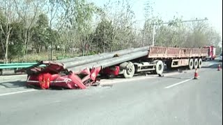 Chuzhou China  city photos gallery : Cargo Crushes Front of Truck in E China