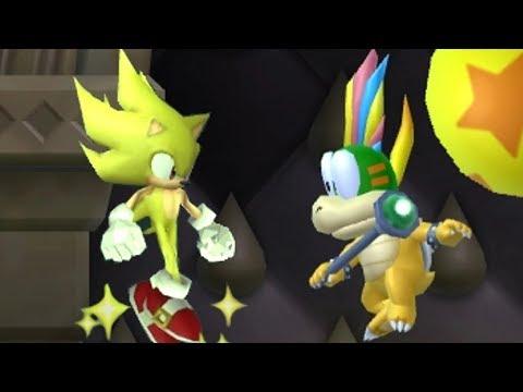 New Super Mario Bros Wii - All Bosses with Super Sonic (видео)