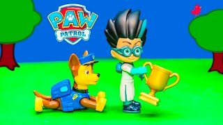 PAW PATROL Nickelodeon Chase and Skye Pull Back Toys With PJ Masks Romeo