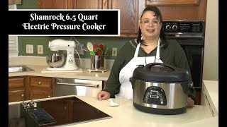 """Join Amy for an unboxing of the Shamrock 6 Quart Electric Pressure Cooker with Voice Command. This pressure cooker is interesting because it is oval with a nonstick pan. This means that you can cook longer pieces of meat than a regular round pressure cooker. This electric pressure cooker also has voice command that will guide you through the cooking process.Shamrock 6 Quart Electric Pressure Cooker with Voice Command:http://amzn.to/2ioU8TyAmy Learns to Cook is all about learning to make simple, tasty food from fresh ingredients.  One year ago, I made a commitment to stop eating processed convenience foods.  I decided to learn to cook """"real"""" food. Join me!  Let's learn to cook together! Enjoy! Please share! Please SUBSCRIBE to my channel, LIKE, and leave a COMMENT.Please visit my website: www.amylearnstocook.comAny links in this description, including Amazon, are affiliate links.I received this product free of charge in exchange for my honest review.Back To The Wood by Audionautix is licensed under a Creative Commons Attribution license (https://creativecommons.org/licenses/by/4.0/) Artist: http://audionautix.com/"""