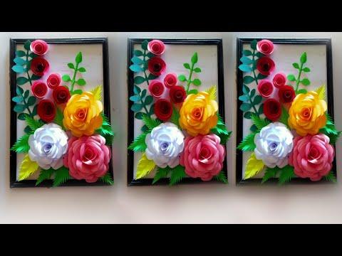 diy wall hanging flower frame make / how to make wall hanging flower frame