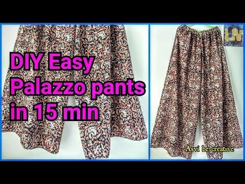 Video How To DIY Easy Palazzo Pants in 15 min Beginner Split Skirt Asvi download in MP3, 3GP, MP4, WEBM, AVI, FLV January 2017