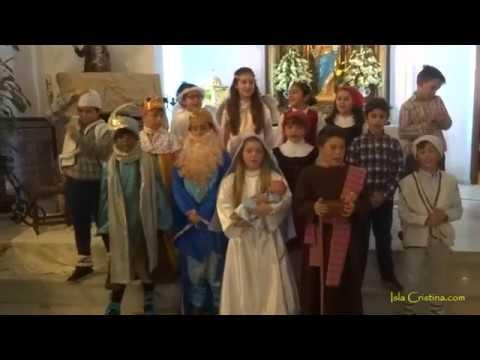 Representación del Nacimiento del niño Jesús por escolares de Pozo del Camino