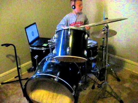 Billy learning drums