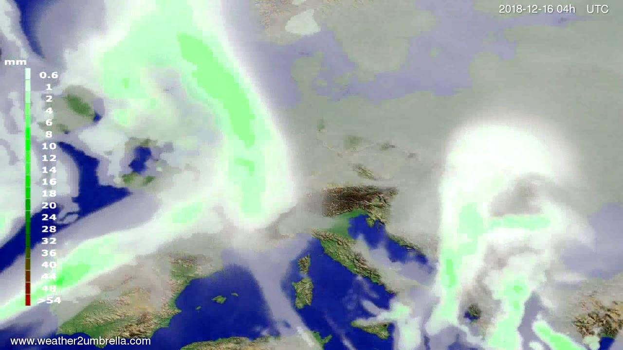 Precipitation forecast Europe 2018-12-12