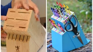 Upcycle an Old Knife Block into a DIY Crayon Holder: Easy DIY Crafts - Thrift Diving