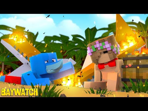 PLANE CRASH ON THE BEACH !! Minecraft BAYWATCH W/ Little Kelly And Sharky