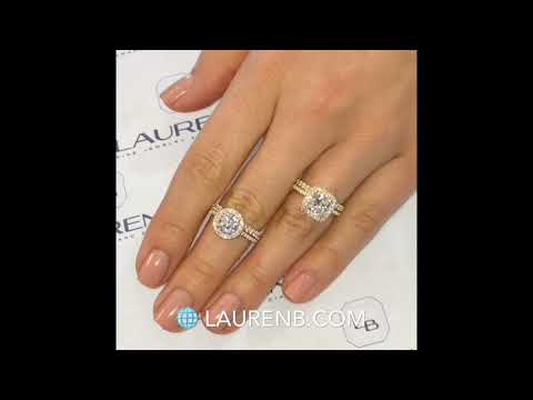 Round VS Cushion Cut Lauren B Halo Engagement Rings