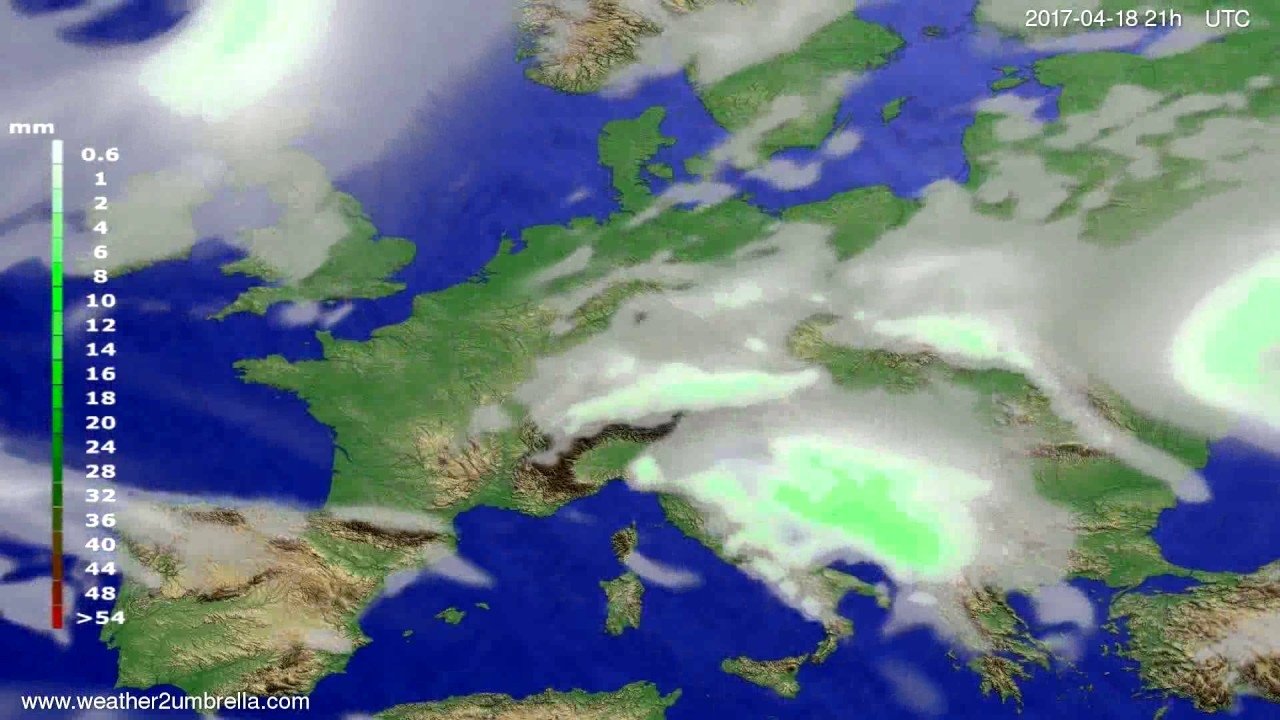 Precipitation forecast Europe 2017-04-15