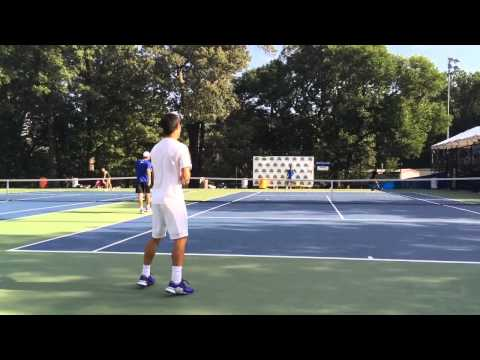 Kei Nishikori Groundstroke Practice Citi Open Aug. 8 2015