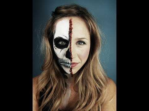 Half Skeleton Half Human Face Halloween Makeup Tutorial