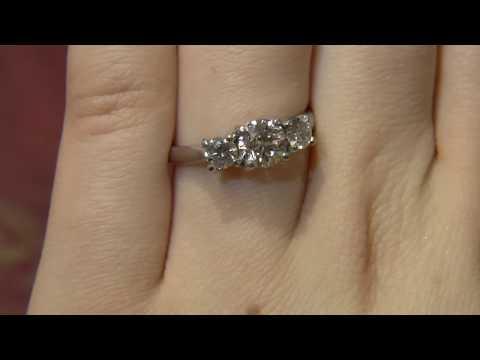 TR1031 Three Stone Diamond Engagement Ring