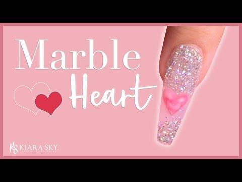 Nail art designs -  Marble Heart Nail Design - Acrylic Nail Art Tutorial
