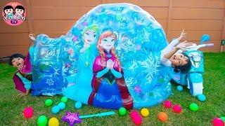 Video หนูยิ้มหนูแย้ม | เล่นอุโมงค์น้ำแข็งเอลซ่า YimYam Pretend Play with Frozen Princess Inflatable Igloo MP3, 3GP, MP4, WEBM, AVI, FLV Juli 2019
