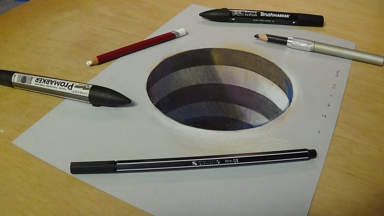 How to Draw 3D Circular Hole - 3D Drawings tutorial