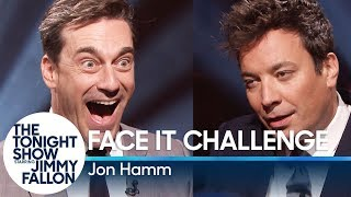 Jon Hamm and Jimmy go head-to-head as they are given random faces to make at each other and try to hold for 10 seconds without being the first to break into laughter.Subscribe NOW to The Tonight Show Starring Jimmy Fallon: http://bit.ly/1nwT1aNWatch The Tonight Show Starring Jimmy Fallon Weeknights 11:35/10:35cGet more Jimmy Fallon: Follow Jimmy: http://Twitter.com/JimmyFallonLike Jimmy: https://Facebook.com/JimmyFallonGet more The Tonight Show Starring Jimmy Fallon: Follow The Tonight Show: http://Twitter.com/FallonTonightLike The Tonight Show: https://Facebook.com/FallonTonightThe Tonight Show Tumblr: http://fallontonight.tumblr.com/Get more NBC: NBC YouTube: http://bit.ly/1dM1qBHLike NBC: http://Facebook.com/NBCFollow NBC: http://Twitter.com/NBCNBC Tumblr: http://nbctv.tumblr.com/NBC Google+: https://plus.google.com/+NBC/postsThe Tonight Show Starring Jimmy Fallon features hilarious highlights from the show including: comedy sketches, music parodies, celebrity interviews, ridiculous games, and, of course, Jimmy's Thank You Notes and hashtags! You'll also find behind the scenes videos and other great web exclusives.Face It Challenge with Jon Hammhttp://www.youtube.com/fallontonight