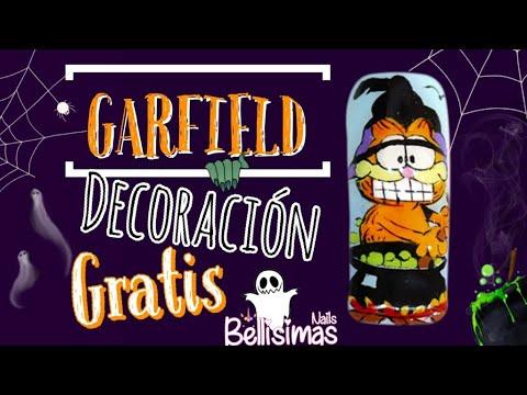 Diseños de uñas Garfield decoración paso a paso pinturas acrílicas Bellísimas Nails
