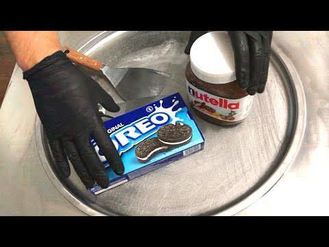 Nutella & Oreo Ice Cream Rolls - How To Make Delicious Nutella And Oreo Cookies Ice Cream | ASMR