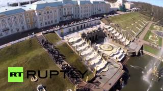 Peterhof Russia  city pictures gallery : Russia: Drone captures Peterhof Palace fountains springing into life