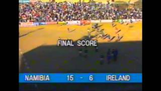 The final minute as Namibia record their greatest ever victory against Ireland in Windhoek in July 1991.