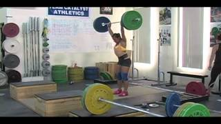 Daily Training 4-13-13 - Weightlifting training footage of Catalyst weightlifters. Audra clean and jerk, Alyssa block snatch, Jessica clean and jerk, Brian clean and jerk. - Catalyst Athletics Olympic Weightlifting Videos
