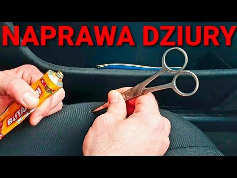 Naprawa dziury w samochodowym fotelu… klej, stara skarpetka + golarka