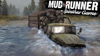Spintires Mudrunner - Crossing A Huge River - The Bog Completed! - Spintires Mudrunner Gameplay