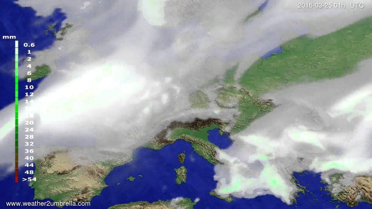 Precipitation forecast Europe 2016-03-22