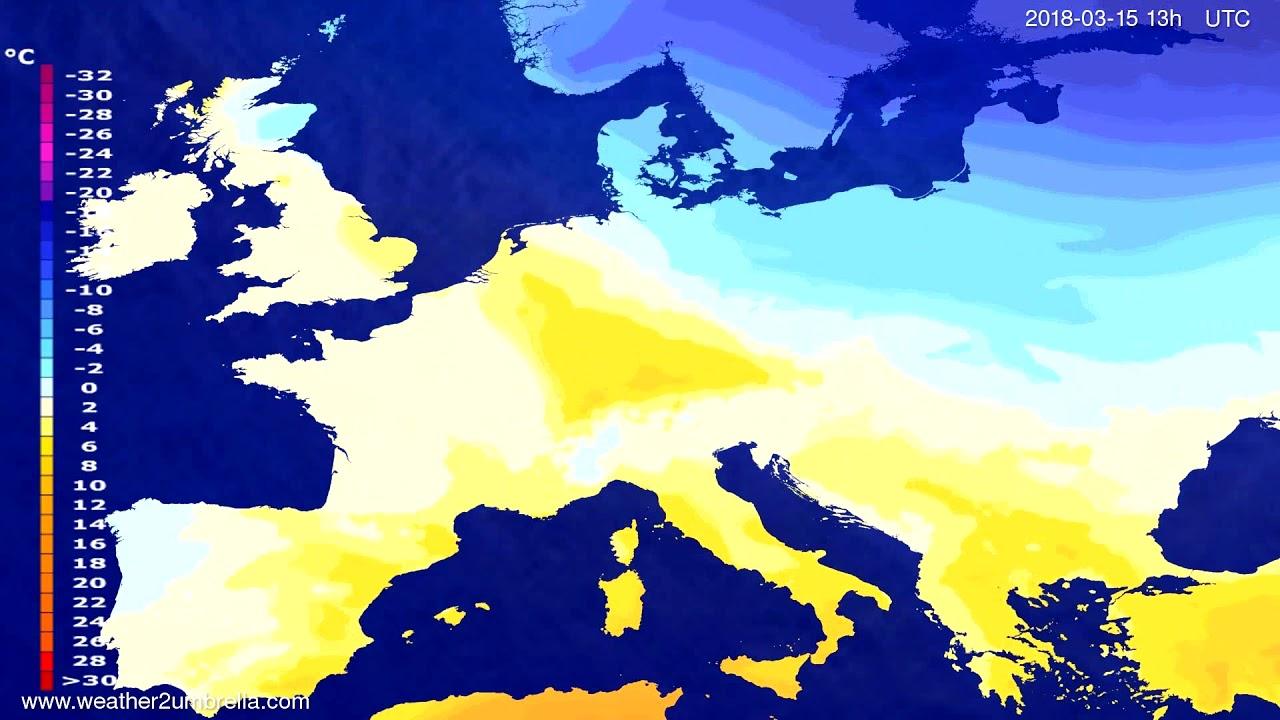Temperature forecast Europe 2018-03-12