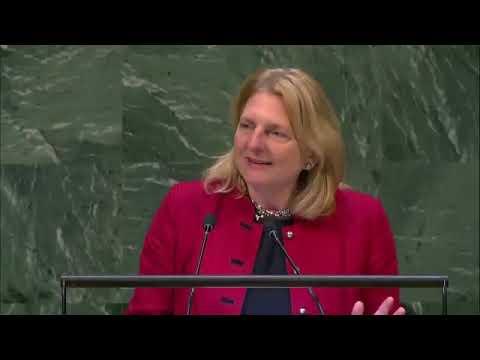 وزيرة خارجية النمسا تلقي خطابها باللغة العربية في الأمم المتحدة