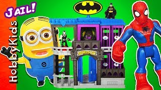 Batman VS Spiderman! Who wins the competition of putting the most bad toy villains in Gotham City jail? Watch now to find out.  Toy story by HobbyDad and HobbyPig. This idea created by HobbyKidsTV. Subscribe for NEW Shows: http://www.youtube.com/subscription_center?add_user=HobbyKidsTV ---TOY VIDEOS---Family Video Gaming Fun: https://www.youtube.com/playlist?list=PLzDMAGLsSlZrhbIdcXn1B5qLtd_6D9407World's Biggest Surprise Eggs: https://www.youtube.com/playlist?list=PLzDMAGLsSlZoNvpGg-ijs4DlYu2RMSOxoGames and Challenges: https://www.youtube.com/playlist?list=PLzDMAGLsSlZqo_IVVsyn7Sn0yFehplgK1Best Family Fun Shows: https://www.youtube.com/playlist?list=PLzDMAGLsSlZpBsqsE4zkBbucAsQ0bgiWdLearning Playlist:http://www.youtube.com/playlist?list=PLzDMAGLsSlZo8aAHrPRzVmM_oW_hZtxdO---OUR OTHER HOBBY CHANNELS---HobbyFamilyTV (Vlog and Extras): http://www.youtube.com/user/hobbykidsvidsHobbyPigTV (Video Gaming):http://www.youtube.com/user/hobbygamestvHobbyFrogTV (Video Gaming):http://www.youtube.com/user/hobbytrixieHobbyBearTV (Toys, Video Games, more):http://www.youtube.com/user/hobbykidsland---FIND US---http://www.Twitter.com/HobbyKidsTVhttps://www.facebook.com/HobbyKidsTV/http://www.HobbyKidsTV.comhttps://www.instagram.com/hobbykidstv/---ABOUT HobbyKidsTV---HobbyKidsTV is the #1 place for kids to watch family-friendly clean shows! Video gaming and giant surprise egg adventures. We are world renowned for being the first and original inventor of all GIANT SURPRISE EGGS! It was our sons unique idea in 2013 to make a wonderful GIANT surprise egg for all our fans. We are the leader in kids creative ideas, skits and science fun. Subscribe to HobbyKidsTV, the trusted brand of families across the globe. We produce the best and most fun kids toy and gaming shows. Collector of the best toys to teach kids imaginative play through games or adventures. HobbyKids love sharing fun educational learning and popular play. Be a HobbyFan today and subscribe for free to see new edutainment shows!-