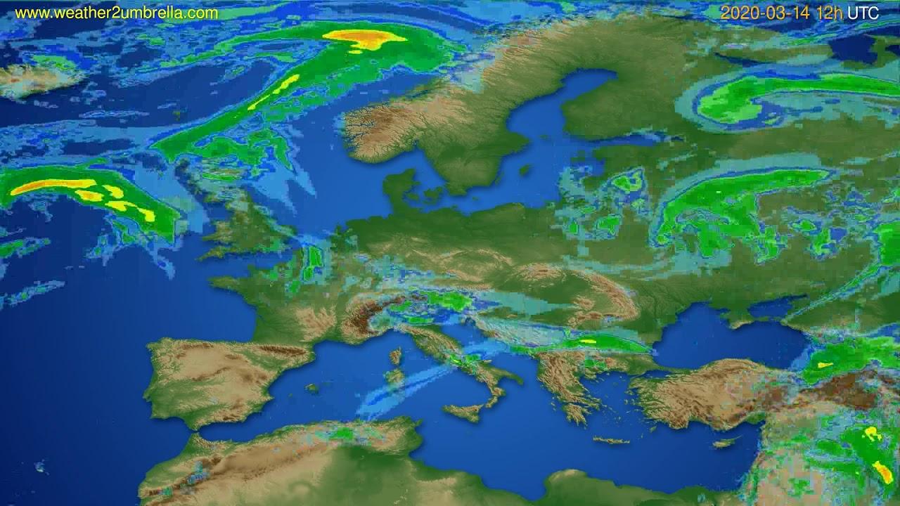 Radar forecast Europe // modelrun: 00h UTC 2020-03-14