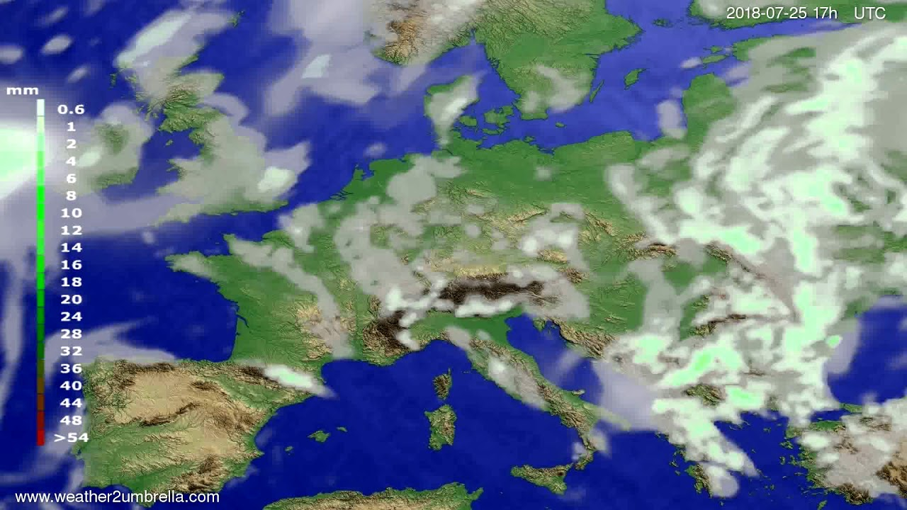 Precipitation forecast Europe 2018-07-23