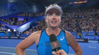 CoCo Vandeweghe On Court Interview after the final of the Mastercard Hopman Cup 2017.