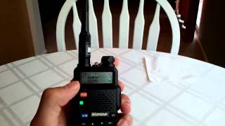 Short video on the Baofeng UV-5R dual watch function and monitor switch.