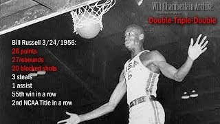 Bill Russell 26pts 27reb 20blks 3stl 1a Double-Triple-Double his final NCAA Championship
