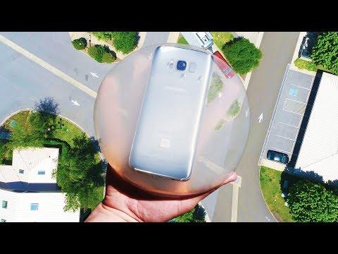 男子將三星Galaxy S8放在水信玄餅中從30公尺高處丟下,結果完全想不到!
