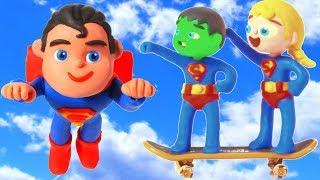 SUPERHERO BABIES MEET SUPERMAN  SUPERHERO PLAY DOH CARTOONS FOR KIDS
