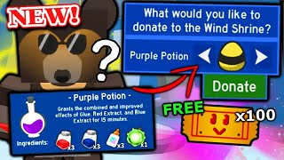 MYSTERY PURPLE POTION, 100 FREE TICKETS & OP MARKET BOOST! | Roblox Bee Swarm