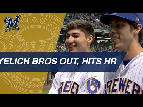Video: Christian Yelich's brother, Cameron, joins him at the game, then Yelich hits a homer