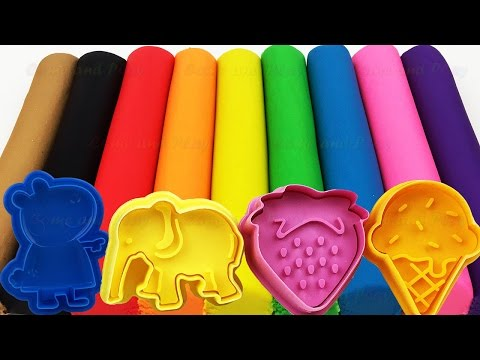 Learn Colors with Play Doh Modelling Clay and Cookie Molds and Surprise!