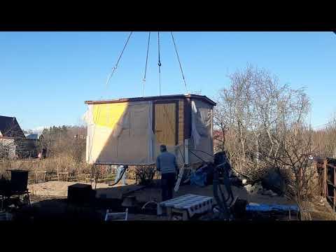 Установка мобильной перевозной бани из профилированного бруса в Выборгском районе