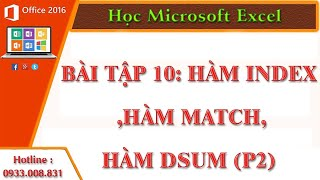 Hàm Index ,Hàm Match,Hàm Dsum