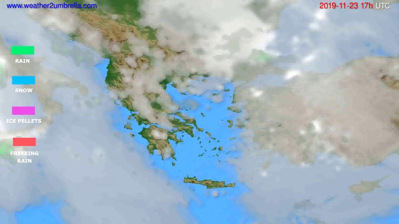 Precipitation forecast Greece // modelrun: 00h UTC 2019-11-22