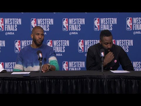 Chris Paul & James Harden Postgame Interview - Game 1 | Warriors vs Rockets | 2018 NBA Playoffs