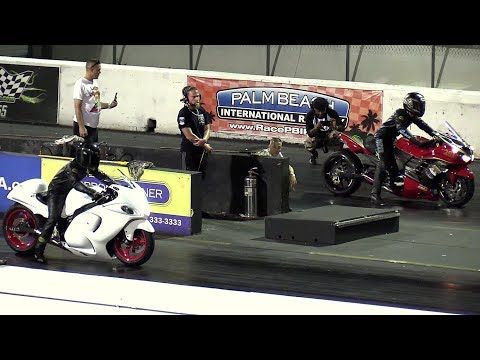 Hayabusa vs Ninja - superbikes drag racing