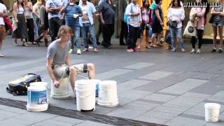 Bucket Street Drummer plays a sick beat!