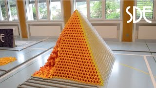 We sacrificed 50 hours to build this dominoevent with about 60'000 dominoes. For the world record pyramid we spent more or ...