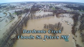 Saint Peters (MO) United States  city images : Dardenne Creek floods out St. Peters Missouri - Closes I70 highway Aerial footage